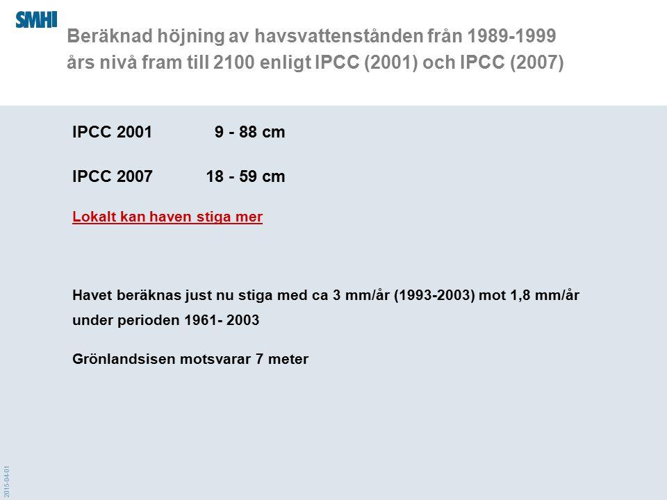 2015-04-01 Beräknad höjning av havsvattenstånden från 1989-1999 års nivå fram till 2100 enligt IPCC (2001) och IPCC (2007) IPCC 2001 9 - 88 cm IPCC 20