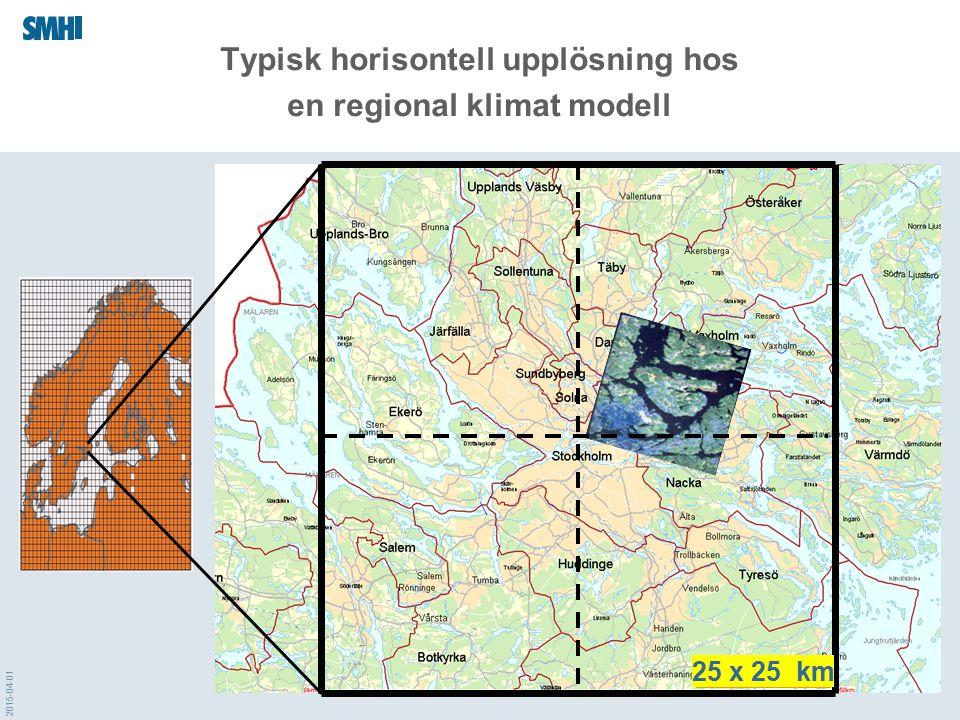 2015-04-01 Typisk horisontell upplösning hos en regional klimat modell 50 x 50 km 25 x 25 km