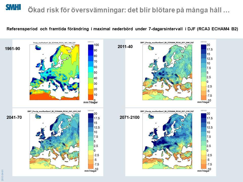 2015-04-01 Ökad risk för översvämningar: det blir blötare på många håll … 1961-90 2011-40 2041-702071-2100 Referensperiod och framtida förändring i ma