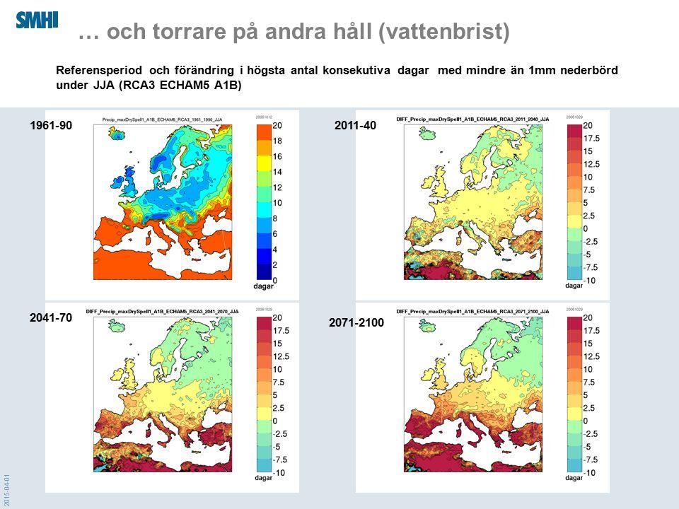 2015-04-01 … och torrare på andra håll (vattenbrist) 1961-902011-40 2041-70 2071-2100 Referensperiod och förändring i högsta antal konsekutiva dagar m