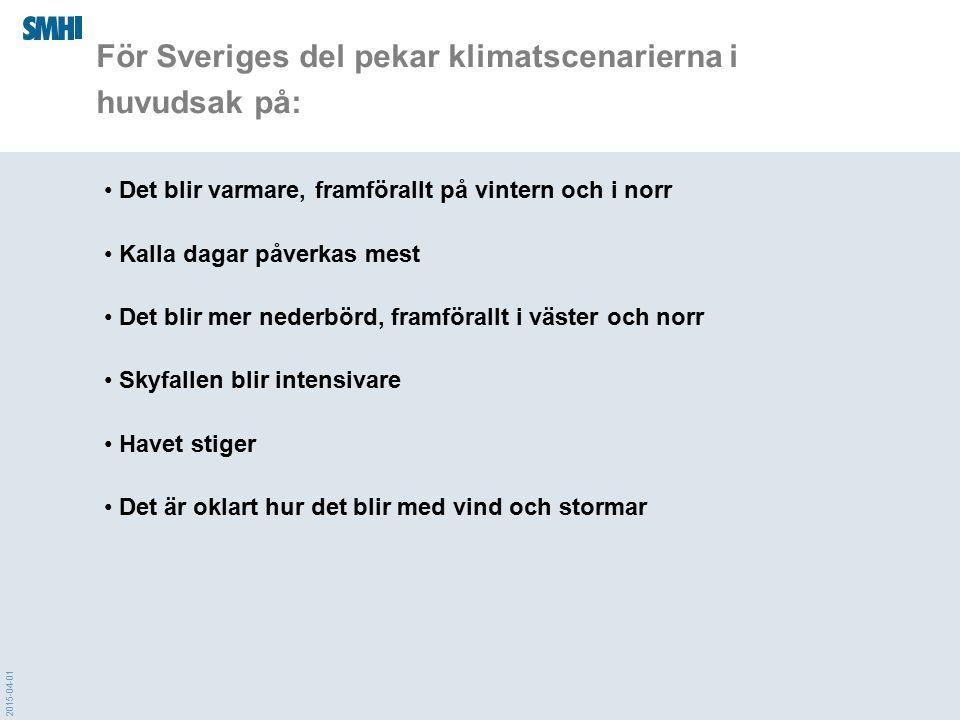 2015-04-01 För Sveriges del pekar klimatscenarierna i huvudsak på: Det blir varmare, framförallt på vintern och i norr Kalla dagar påverkas mest Det b