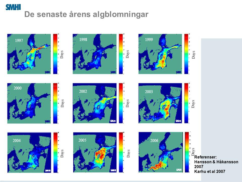 2015-04-01 De senaste årens algblomningar Referenser: Hansson & Håkansson 2007 Karhu et al 2007