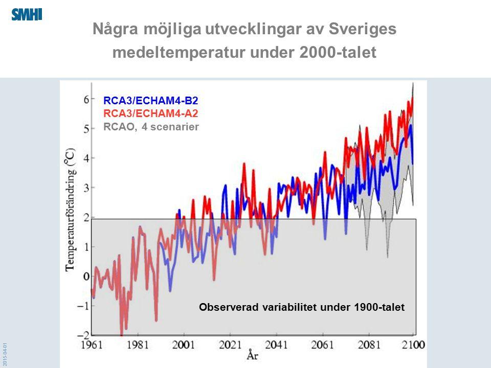 2015-04-01 Beräkningsgången för framtidens klimat GCM Utsläpps- scenarier RCM Regionala klimat- modeller (SMHI m.fl.) Globala klimat- modeller (internationella forsknings- centra) GCM FN:s klimat- panel