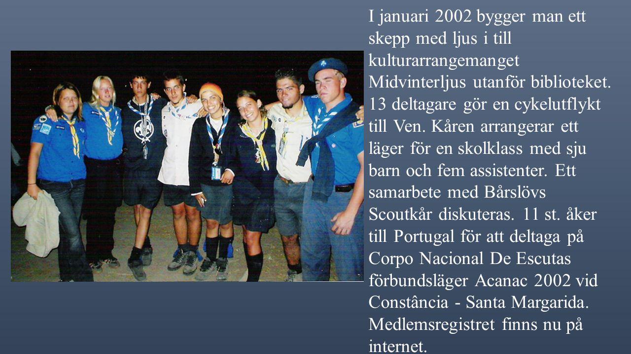 """2000 bildar man en arkivgrupp. Vecka 8 åker 2 st. till Mullfjällstugan tillsammans med Jonstorps Scoutkår. Kåren deltager i städprojektet """"Ren Stad"""" f"""