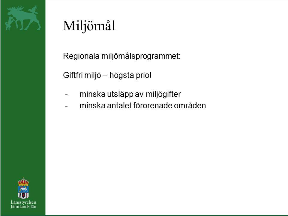 Miljömål Regionala miljömålsprogrammet: Giftfri miljö – högsta prio! -minska utsläpp av miljögifter -minska antalet förorenade områden
