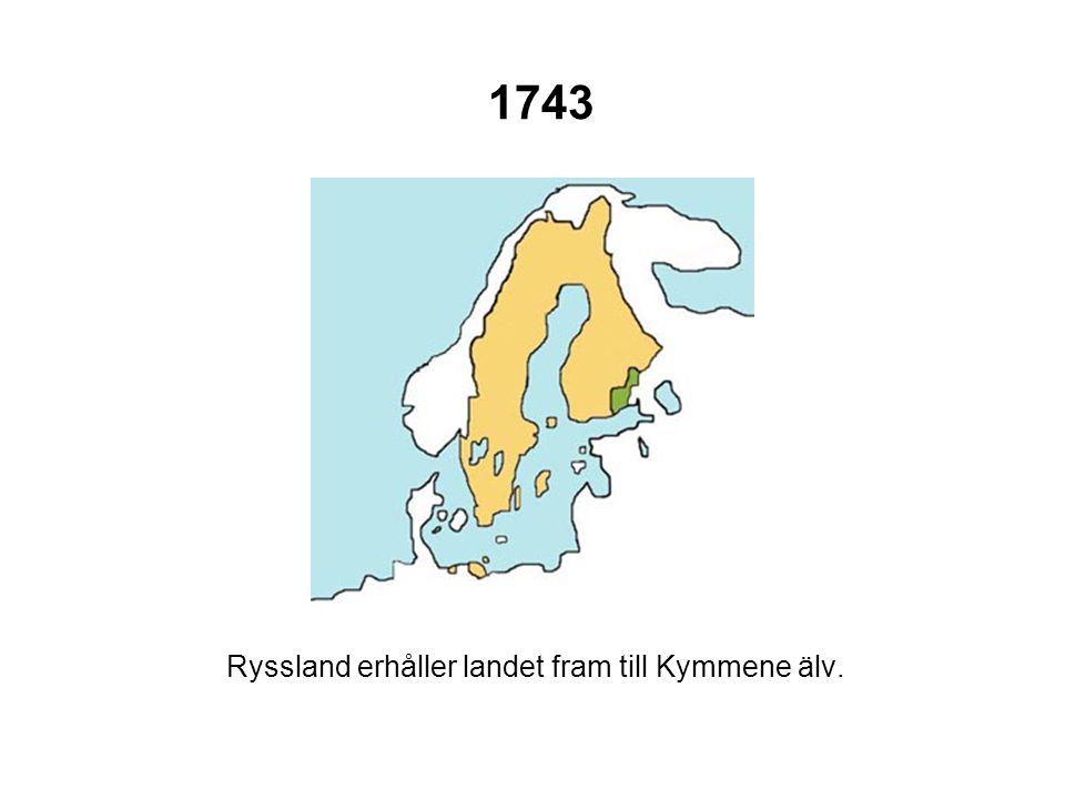 1743 Ryssland erhåller landet fram till Kymmene älv.