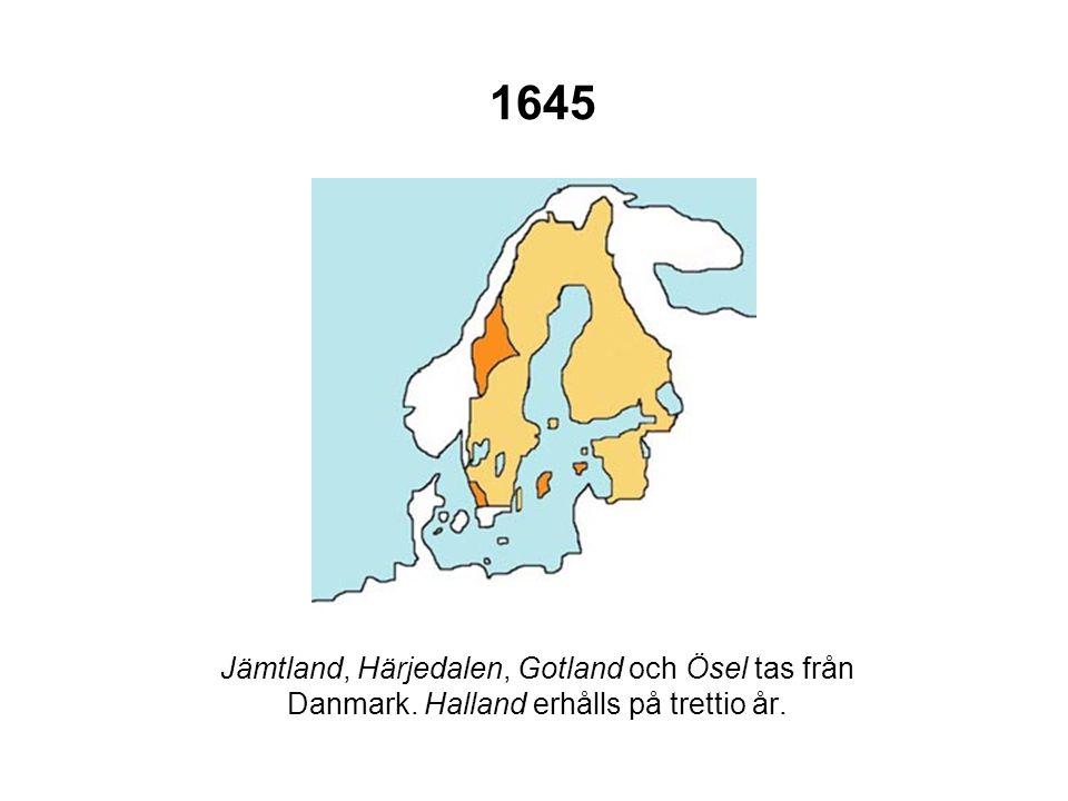1648 Vorpommern, delar av Hinterpommern (med städerna Stralsund och Stettin), Rügen med flera öar, staden Wismar, furstendömet Bremen (utom själva staden) samt Wildeshausen erhålls från den tyske kejsaren.