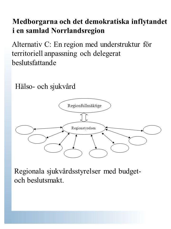 Alternativ C: En region med understruktur för territoriell anpassning och delegerat beslutsfattande Hälso- och sjukvård Regionfullmäktige Regionstyrelsen Regionala sjukvårdsstyrelser med budget- och beslutsmakt.