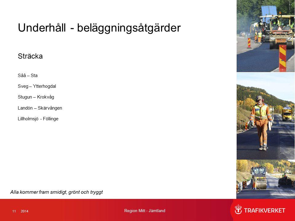112014 Region Mitt - Jämtland Underhåll - beläggningsåtgärder Sträcka Såå – Sta Sveg – Ytterhogdal Stugun – Krokvåg Landön – Skärvången Lillholmsjö - Föllinge