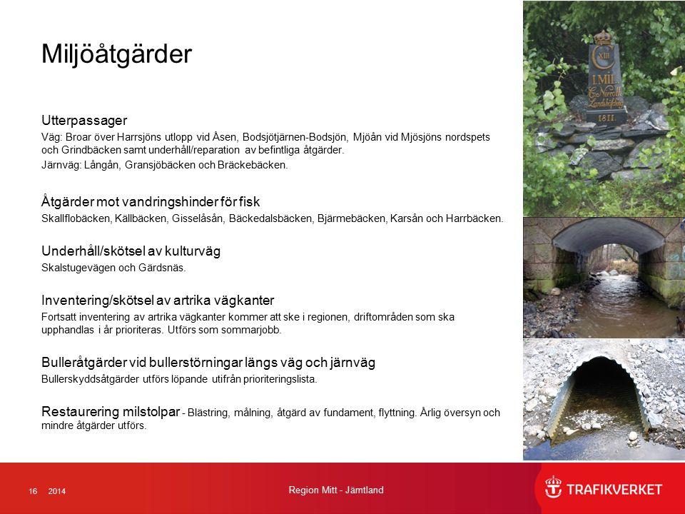 162014 Region Mitt - Jämtland Miljöåtgärder Utterpassager Väg: Broar över Harrsjöns utlopp vid Åsen, Bodsjötjärnen-Bodsjön, Mjöån vid Mjösjöns nordspets och Grindbäcken samt underhåll/reparation av befintliga åtgärder.