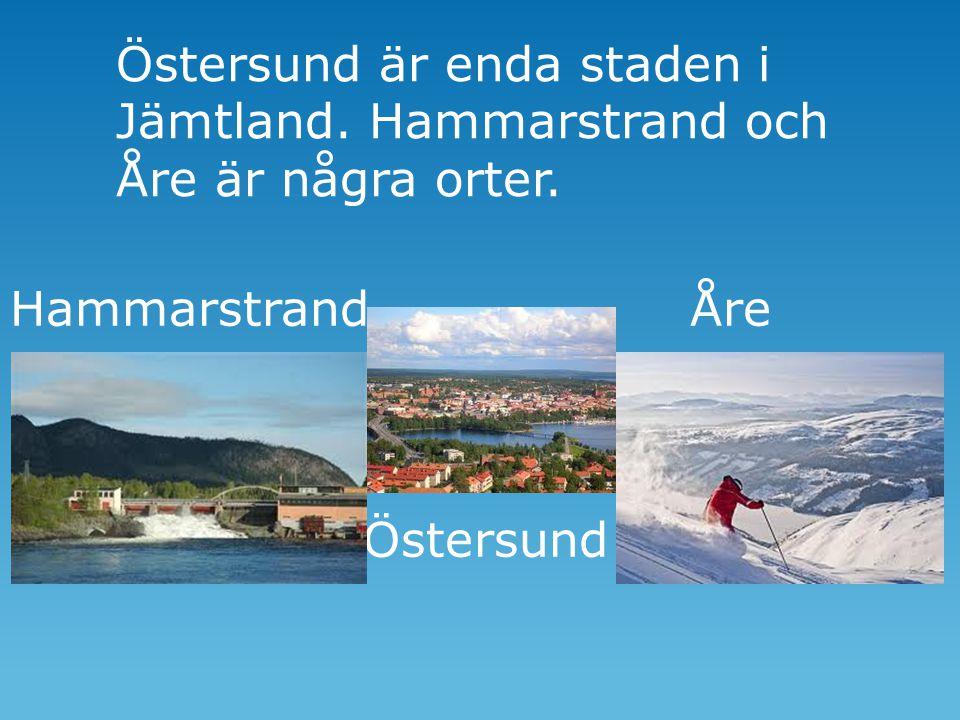 Östersund är enda staden i Jämtland. Hammarstrand och Åre är några orter. Hammarstrand Åre Östersund