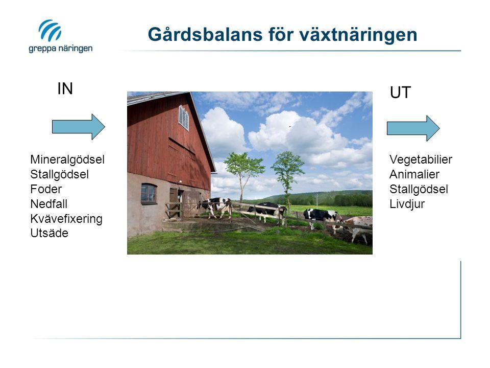 Gårdsbalans för växtnäringen Mineralgödsel Stallgödsel Foder Nedfall Kvävefixering Utsäde Vegetabilier Animalier Stallgödsel Livdjur IN UT