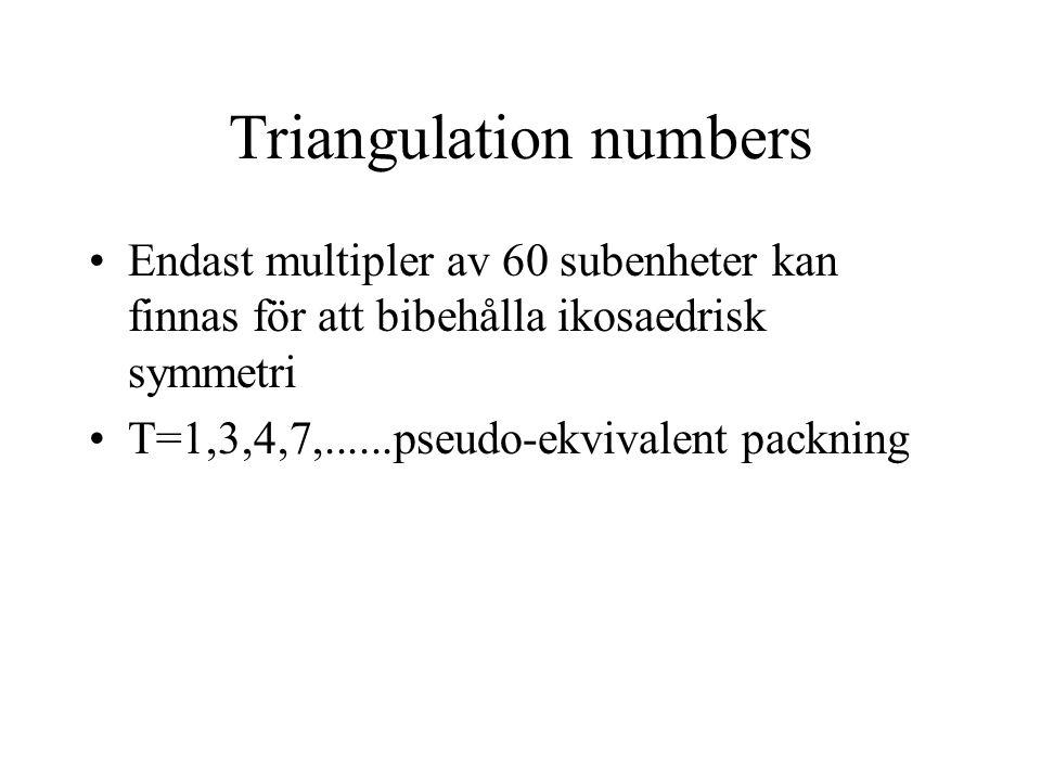 Triangulation numbers Endast multipler av 60 subenheter kan finnas för att bibehålla ikosaedrisk symmetri T=1,3,4,7,......pseudo-ekvivalent packning