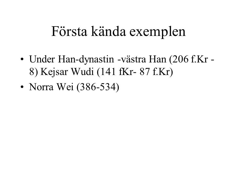 Mer systematiskt … Under Sui (581-618) och Tang (618-907) Men under Tang fortfarande bara c:a 10% av ämbetsmannakåren som rekryteras genom examinationer Den resterande delen fortfarande genom rekommendationer Övre delarna domineras dock av män som avlagt examen Praktiskt för kejsaren att kunna kringgå den gamla militära aristokratin