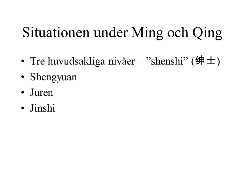 "Situationen under Ming och Qing Tre huvudsakliga nivåer – ""shenshi"" ( 绅士 ) Shengyuan Juren Jinshi"