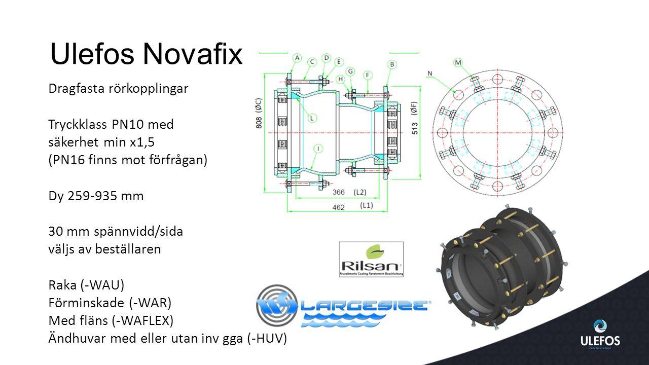 Ulefos Novafix Dragfasta rörkopplingar Tryckklass PN10 med säkerhet min x1,5 (PN16 finns mot förfrågan) Dy 259-935 mm 30 mm spännvidd/sida väljs av beställaren Raka (-WAU) Förminskade (-WAR) Med fläns (-WAFLEX) Ändhuvar med eller utan inv gga (-HUV)