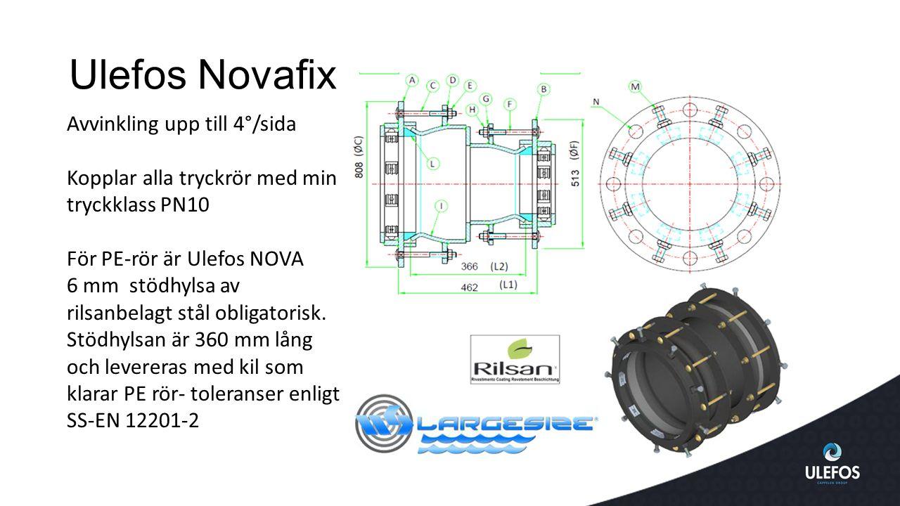 Ulefos Novafix Avvinkling upp till 4°/sida Kopplar alla tryckrör med min tryckklass PN10 För PE-rör är Ulefos NOVA 6 mm stödhylsa av rilsanbelagt stål obligatorisk.