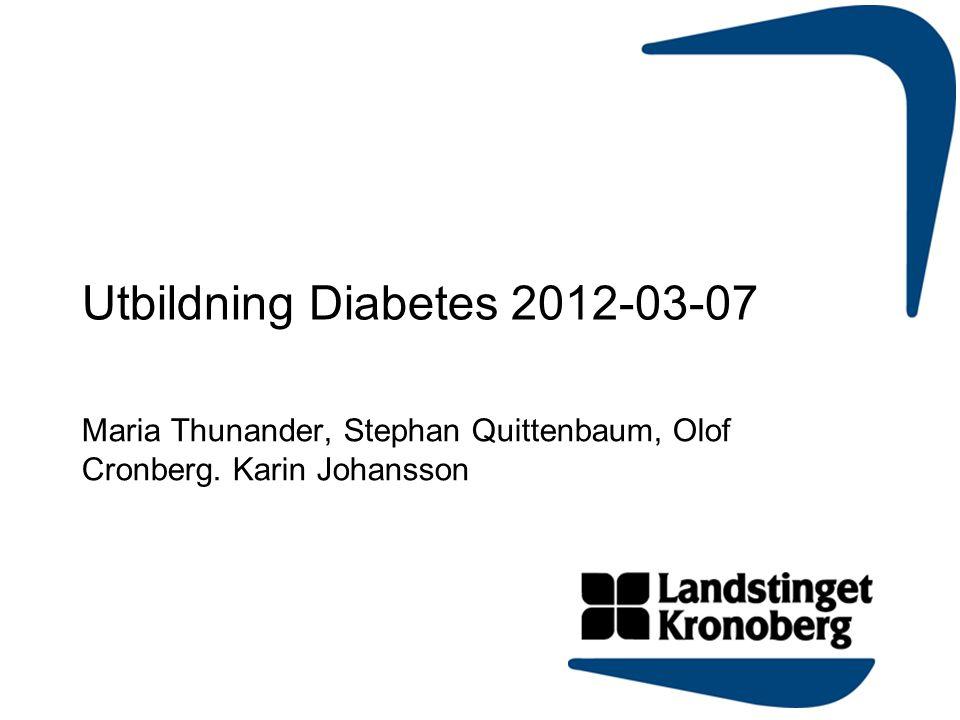 Utbildning Diabetes 2012-03-07 Maria Thunander, Stephan Quittenbaum, Olof Cronberg. Karin Johansson
