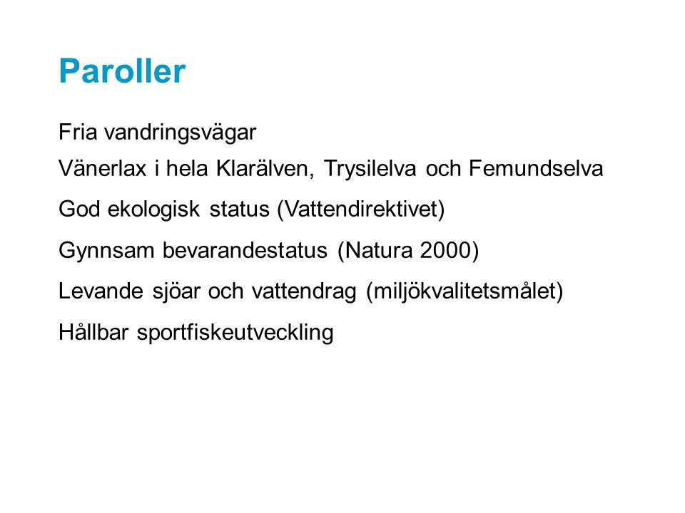 Paroller Fria vandringsvägar Vänerlax i hela Klarälven, Trysilelva och Femundselva God ekologisk status (Vattendirektivet) Gynnsam bevarandestatus (Natura 2000) Levande sjöar och vattendrag (miljökvalitetsmålet) Hållbar sportfiskeutveckling