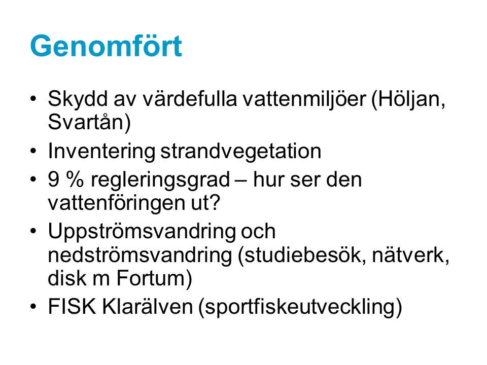 Genomfört Skydd av värdefulla vattenmiljöer (Höljan, Svartån) Inventering strandvegetation 9 % regleringsgrad – hur ser den vattenföringen ut.