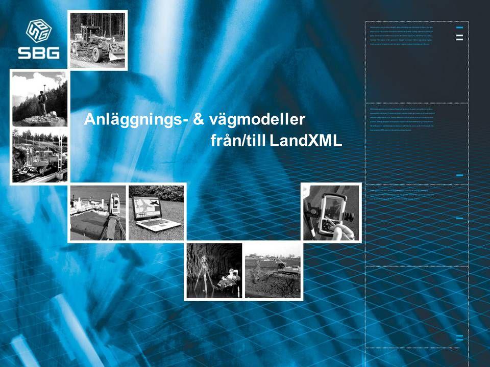 Machine Control Division 1 från/till LandXML Anläggnings- & vägmodeller