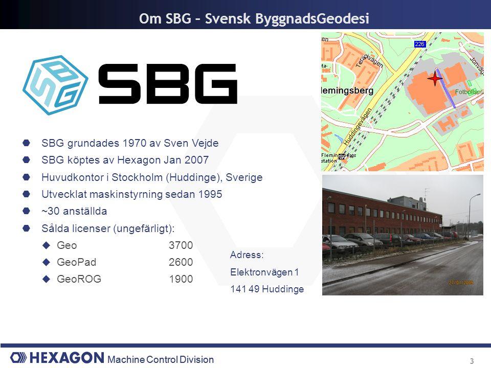 Machine Control Division 3 Om SBG – Svensk ByggnadsGeodesi  SBG grundades 1970 av Sven Vejde  SBG köptes av Hexagon Jan 2007  Huvudkontor i Stockho