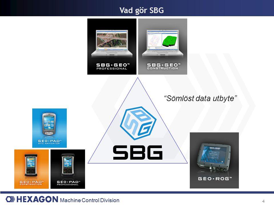 Machine Control Division 5 SBG Programvara Hanterar all mätdata och projekteringsdata från början till slut i projektet.