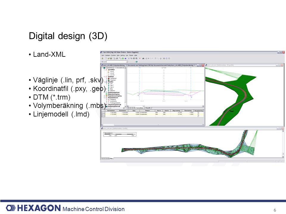 Machine Control Division 6 Digital design (3D) Land-XML Väglinje (.lin, prf,.skv) Koordinatfil (.pxy,.geo) DTM (*.trm) Volymberäkning (.mbs) Linjemode