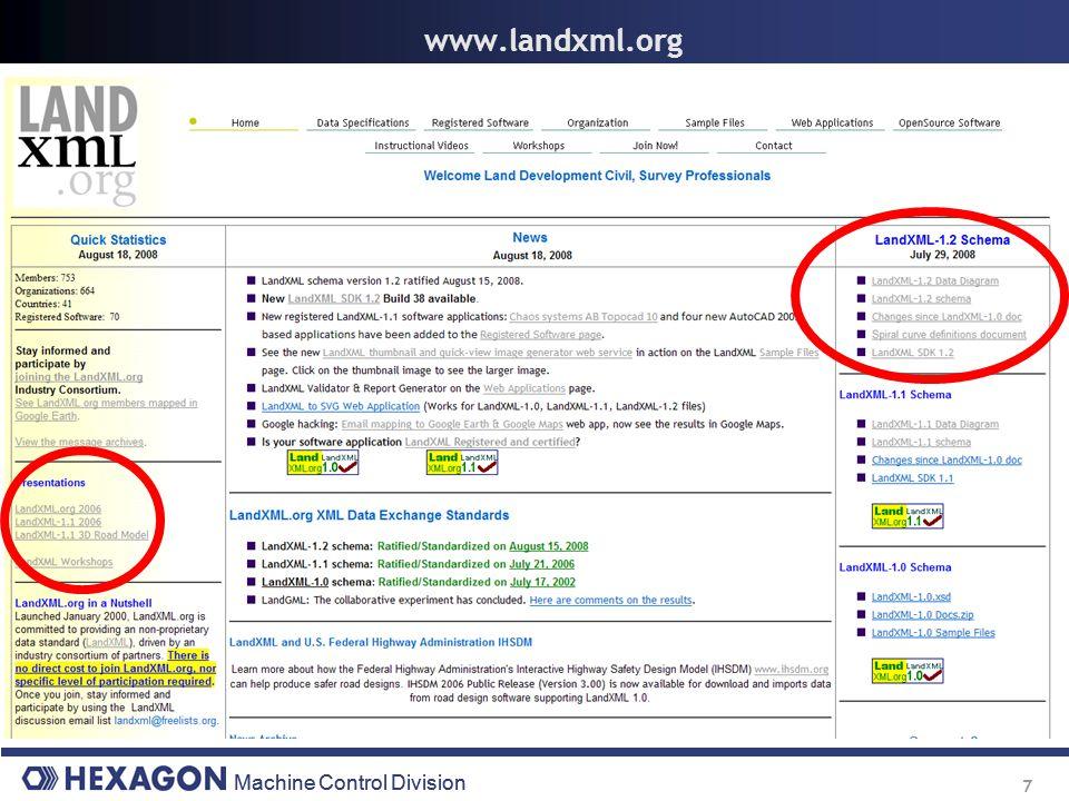 Machine Control Division 7 www.landxml.org