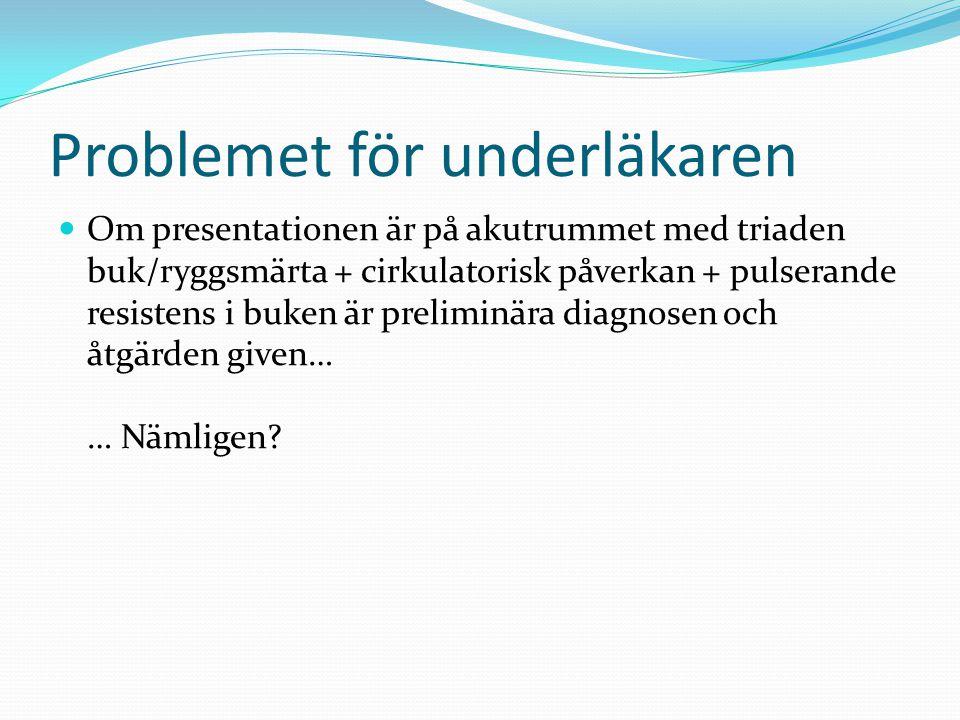 Problemet för underläkaren Om presentationen är på akutrummet med triaden buk/ryggsmärta + cirkulatorisk påverkan + pulserande resistens i buken är pr