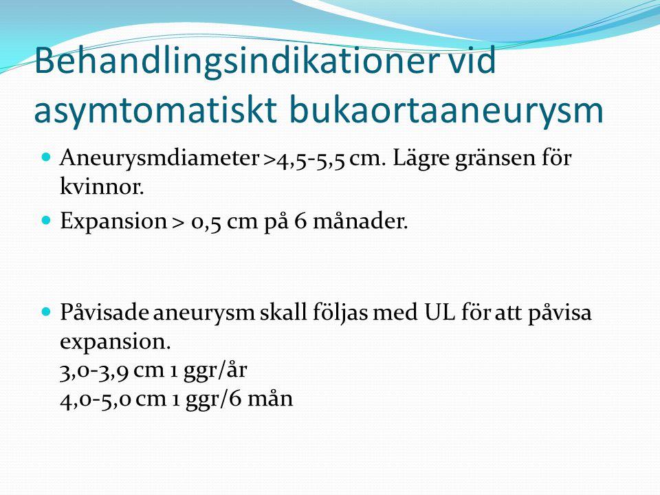 Behandlingsindikationer vid asymtomatiskt bukaortaaneurysm Aneurysmdiameter >4,5-5,5 cm. Lägre gränsen för kvinnor. Expansion > 0,5 cm på 6 månader. P