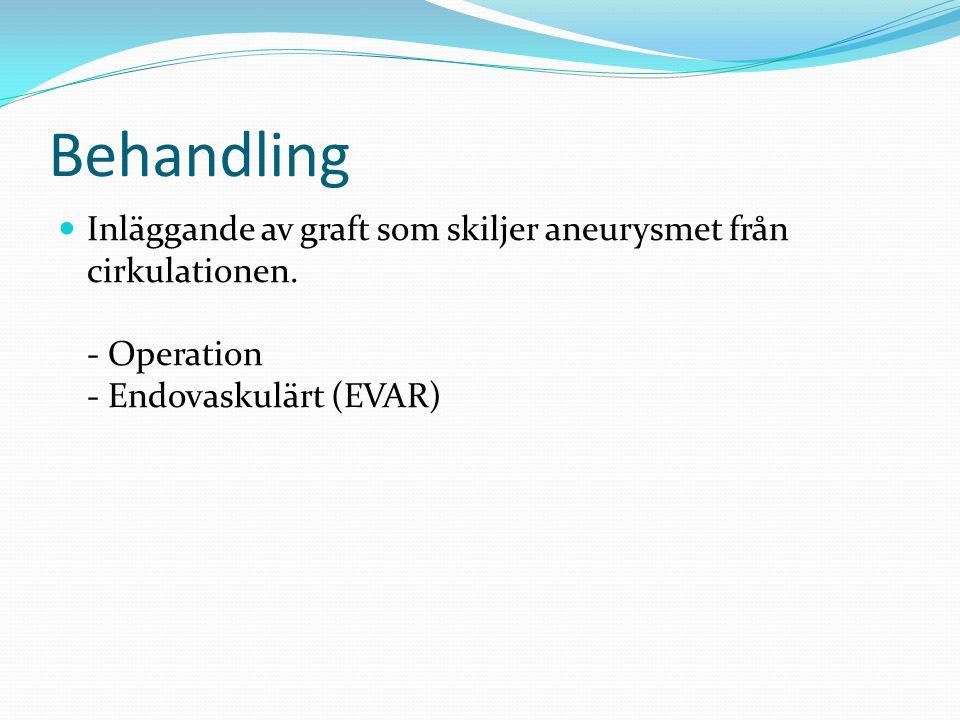 Behandling Inläggande av graft som skiljer aneurysmet från cirkulationen. - Operation - Endovaskulärt (EVAR)