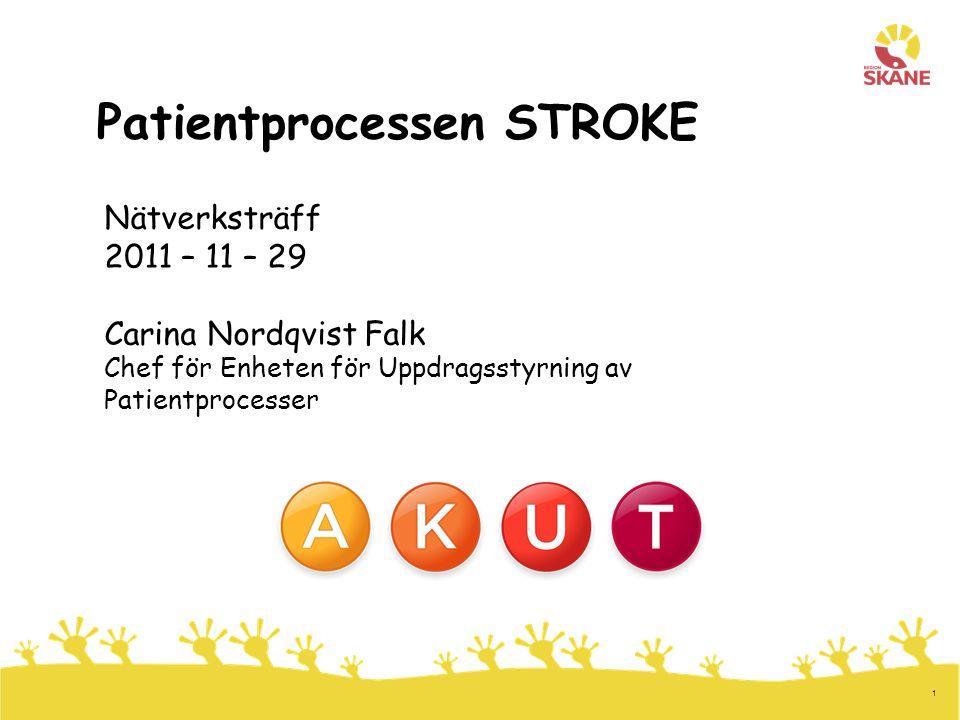 1 Patientprocessen STROKE Nätverksträff 2011 – 11 – 29 Carina Nordqvist Falk Chef för Enheten för Uppdragsstyrning av Patientprocesser