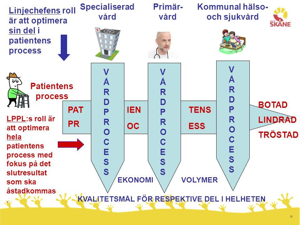 10 Patientens process Specialiserad vård Primär- vård VÅRDPROCESSVÅRDPROCESS Kommunal hälso- och sjukvård VÅRDPROCESSVÅRDPROCESS VÅRDPROCESSVÅRDPROCES