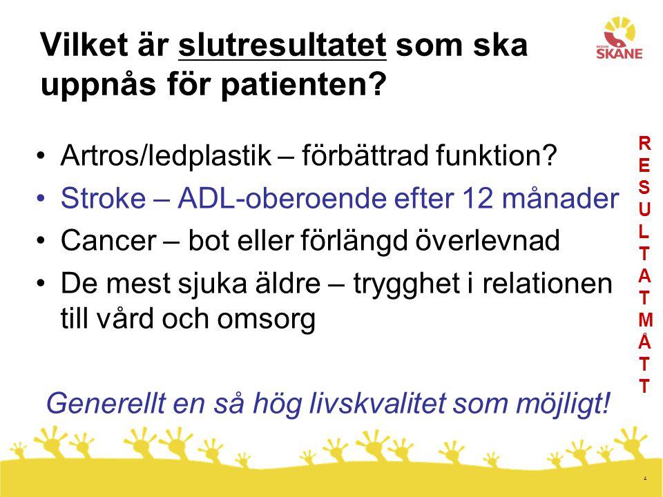 4 Vilket är slutresultatet som ska uppnås för patienten? Artros/ledplastik – förbättrad funktion? Stroke – ADL-oberoende efter 12 månader Cancer – bot