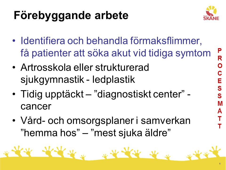 6 Förebyggande arbete Identifiera och behandla förmaksflimmer, få patienter att söka akut vid tidiga symtom Artrosskola eller strukturerad sjukgymnast