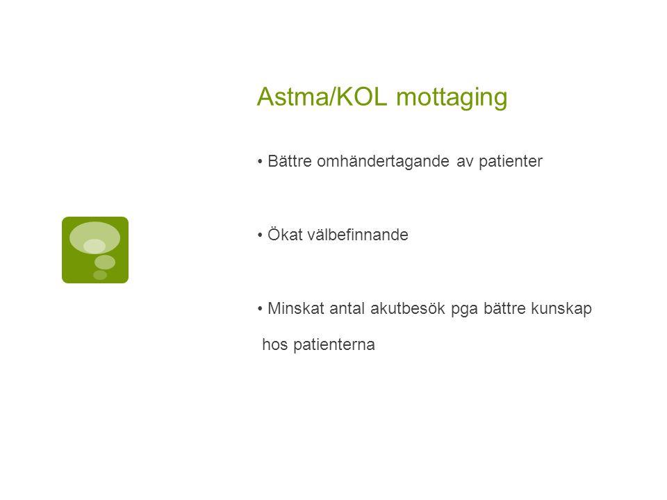 Astma/KOL mottaging Bättre omhändertagande av patienter Ökat välbefinnande Minskat antal akutbesök pga bättre kunskap hos patienterna