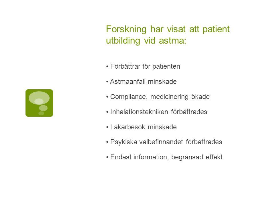 Forskning har visat att patient utbilding vid astma: Förbättrar för patienten Astmaanfall minskade Compliance, medicinering ökade Inhalationstekniken förbättrades Läkarbesök minskade Psykiska välbefinnandet förbättrades Endast information, begränsad effekt