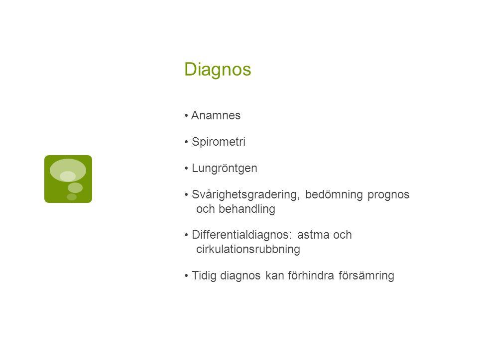 Diagnos Anamnes Spirometri Lungröntgen Svårighetsgradering, bedömning prognos och behandling Differentialdiagnos: astma och cirkulationsrubbning Tidig diagnos kan förhindra försämring