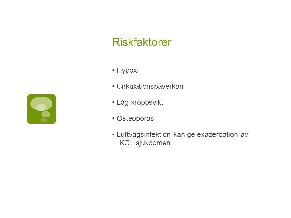 Riskfaktorer Hypoxi Cirkulationspåverkan Låg kroppsvikt Osteoporos Luftvägsinfektion kan ge exacerbation av KOL sjukdomen