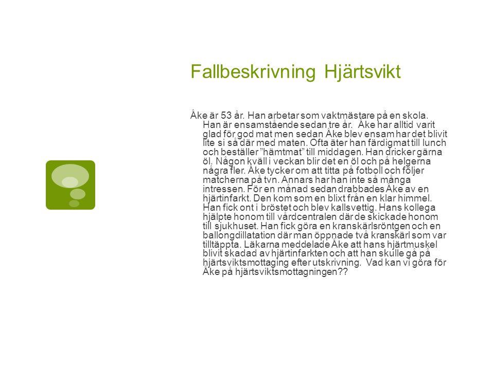 Fallbeskrivning Hjärtsvikt Åke är 53 år.Han arbetar som vaktmästare på en skola.