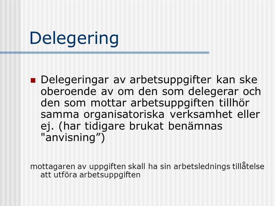 Delegering Delegeringar av arbetsuppgifter kan ske oberoende av om den som delegerar och den som mottar arbetsuppgiften tillhör samma organisatoriska