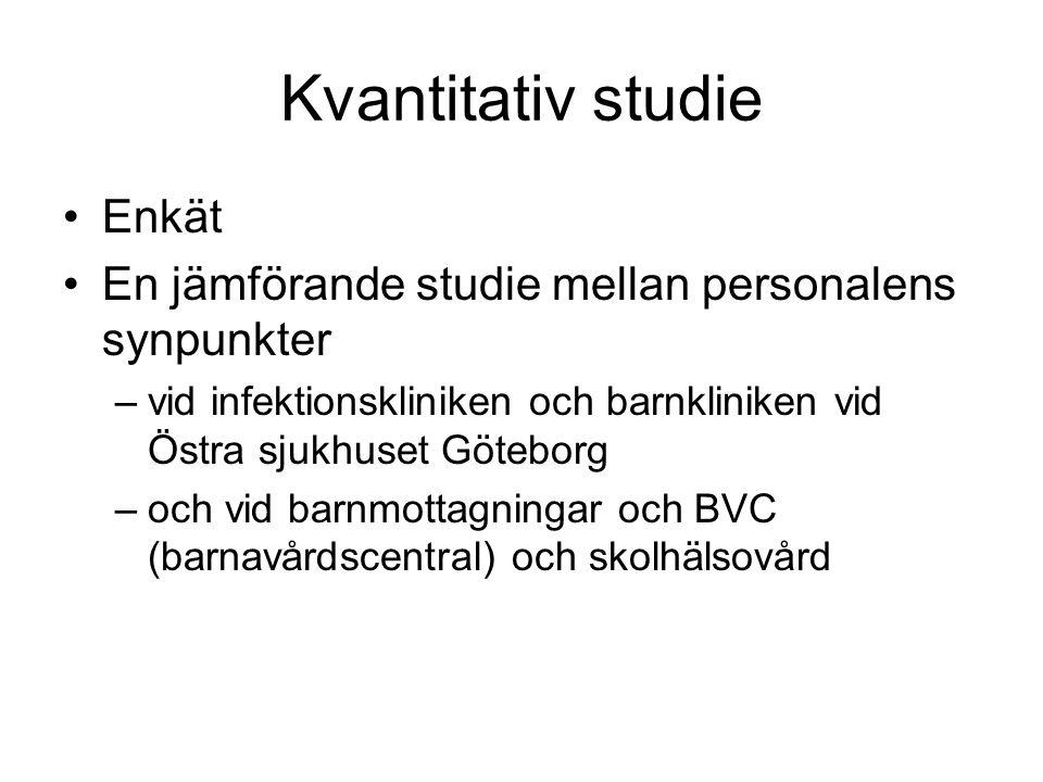 Kvantitativ studie Enkät En jämförande studie mellan personalens synpunkter –vid infektionskliniken och barnkliniken vid Östra sjukhuset Göteborg –och