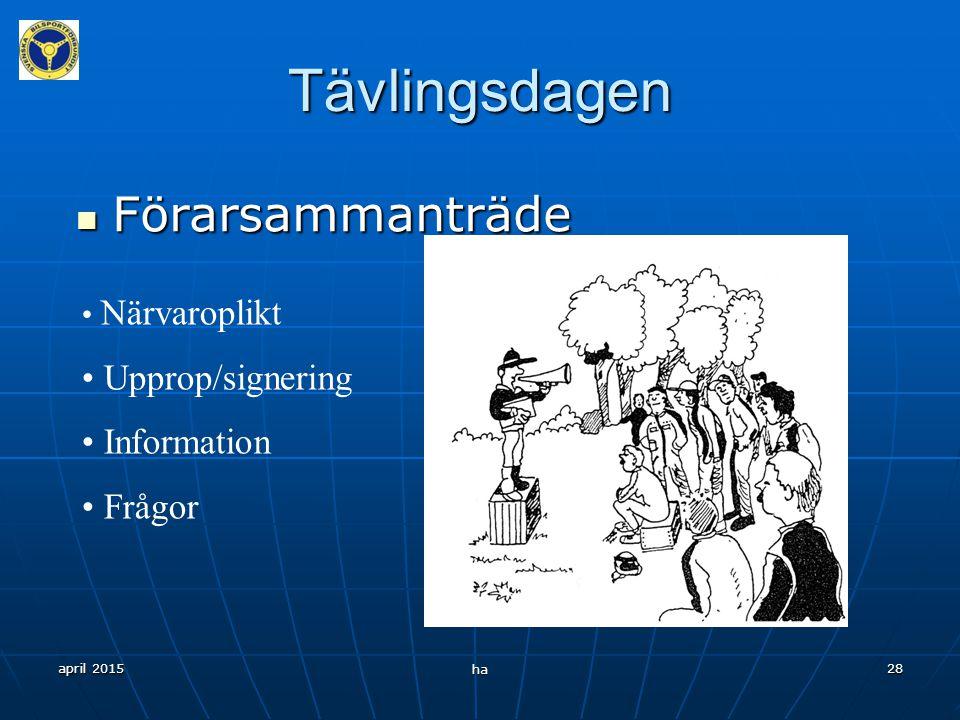 april 2015 ha 27 Tävlingsdagen Rundvandring Rundvandring Alla bör gå ett varv för att bekanta sig med banan.