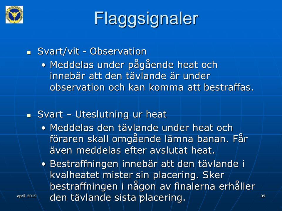 april 2015 ha 38 Efter tävlingen Prisutdelning/klädsel Prisutdelning/klädsel Städa efter dig i depån Städa efter dig i depån
