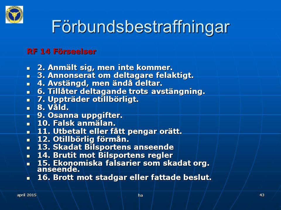 april 2015 ha 42 Förbundsbestraffningar RF 14 BESTRAFFNINGSÄRENDEN Omfattning Enskild medlem inom RF. Enskild medlem inom RF. Funktionär. Funktionär.