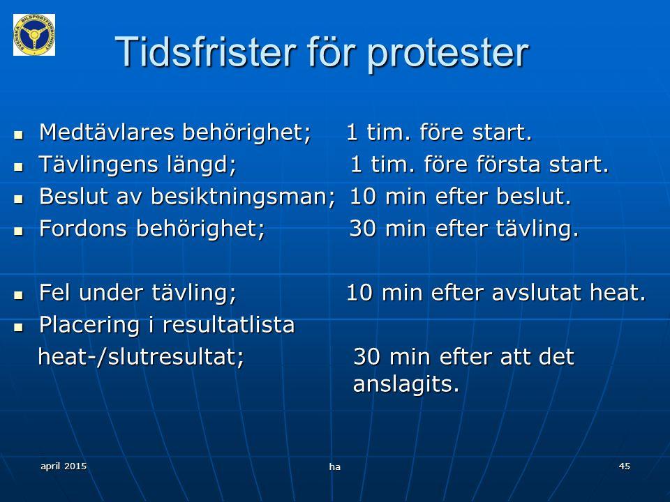 april 2015 ha 44 Protester Vad kan föraren inte protestera mot.