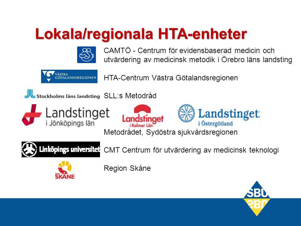 Lokala/regionala HTA-enheter CAMTÖ - Centrum för evidensbaserad medicin och utvärdering av medicinsk metodik i Örebro läns landsting HTA-Centrum Västra Götalandsregionen SLL:s Metodråd Metodrådet, Sydöstra sjukvårdsregionen CMT Centrum för utvärdering av medicinsk teknologi Region Skåne