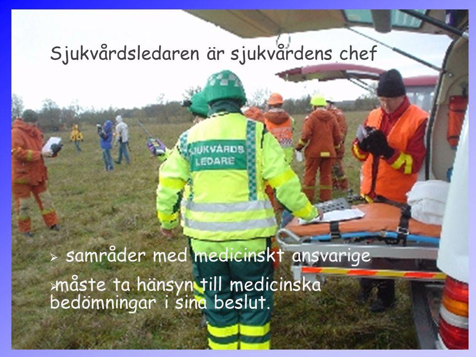 Sjukvårdsledaren är sjukvårdens chef  samråder med medicinskt ansvarige  måste ta hänsyn till medicinska bedömningar i sina beslut.