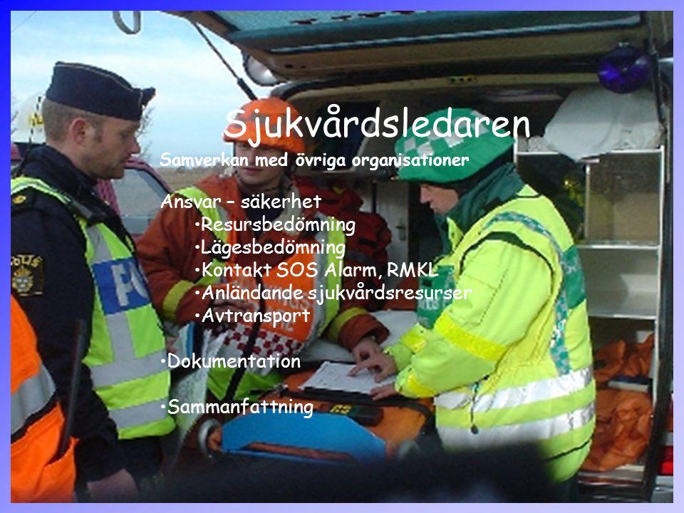 Sjukvårdsledaren Samverkan med övriga organisationer Ansvar – säkerhet Resursbedömning Lägesbedömning Kontakt SOS Alarm, RMKL Anländande sjukvårdsresurser Avtransport Dokumentation Sammanfattning